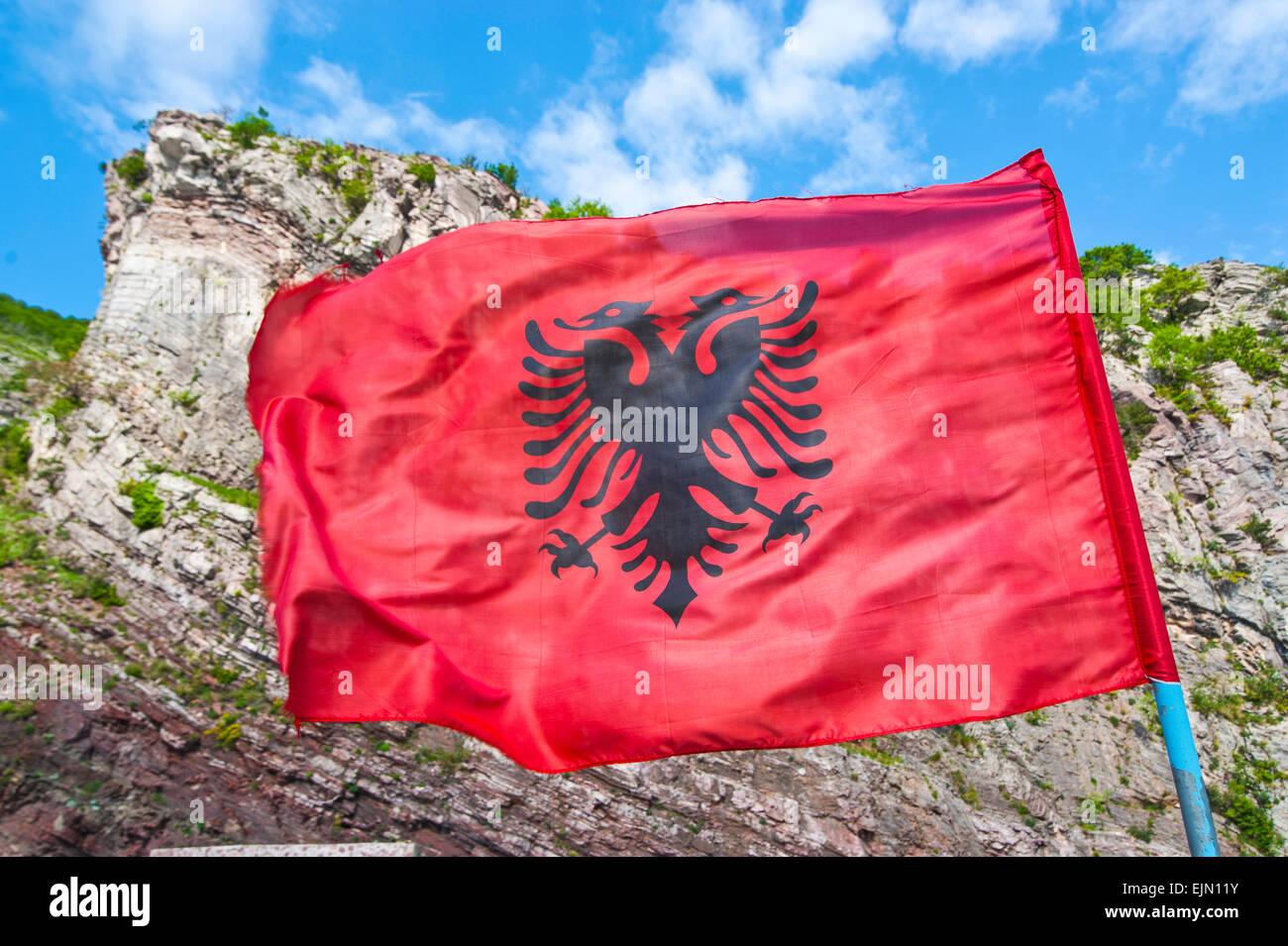 Albanian flag, Balkan, Albania - Stock Image