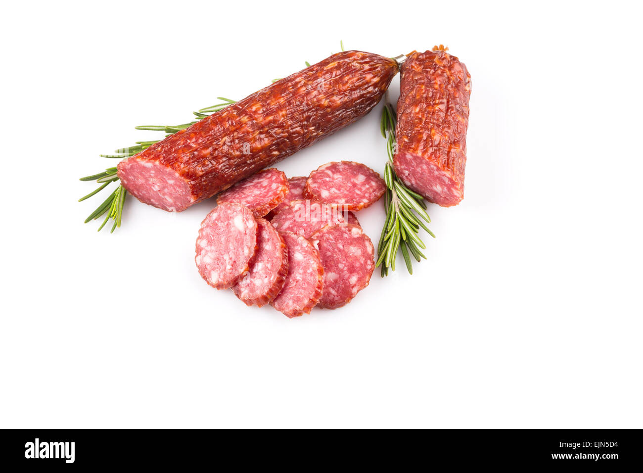 sliced salami isolated on a white background - Stock Image