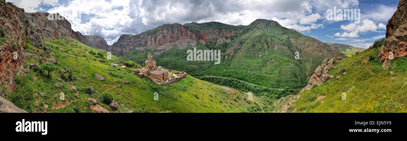 Scenic panorama of Novarank monastery in Armenia, famous tourist destination - Stock Image