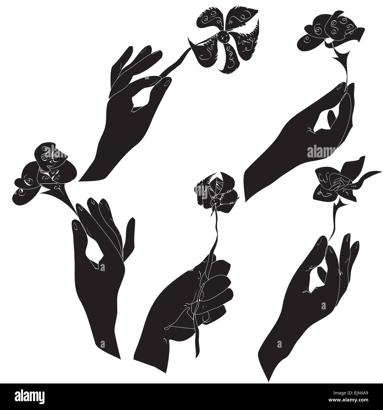 Hand Drawn Silhouettes Of The Human Hands Holding Flowers In Black