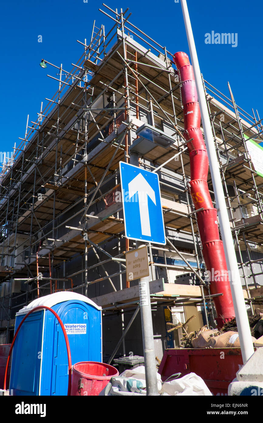 Scaffolding on a house in Llandudno, Wales, UK - Stock Image