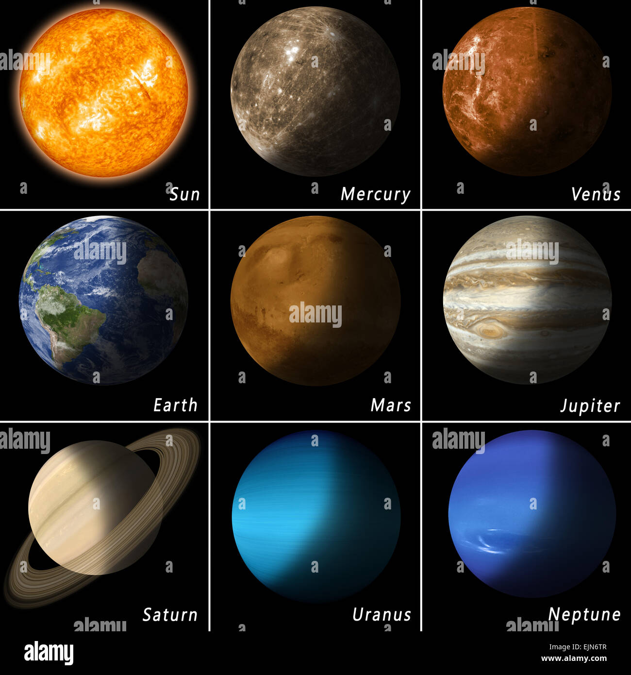 all best known solar system planets and the main star sun - Stock Image