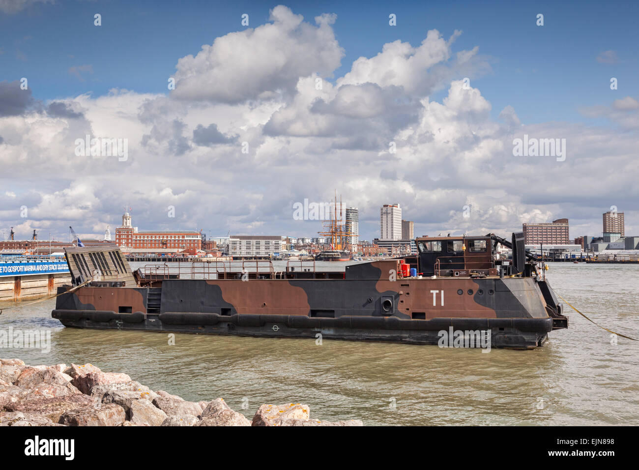Landing craft at Gosport, Portsmouth Harbour, Hampshire, England. - Stock Image