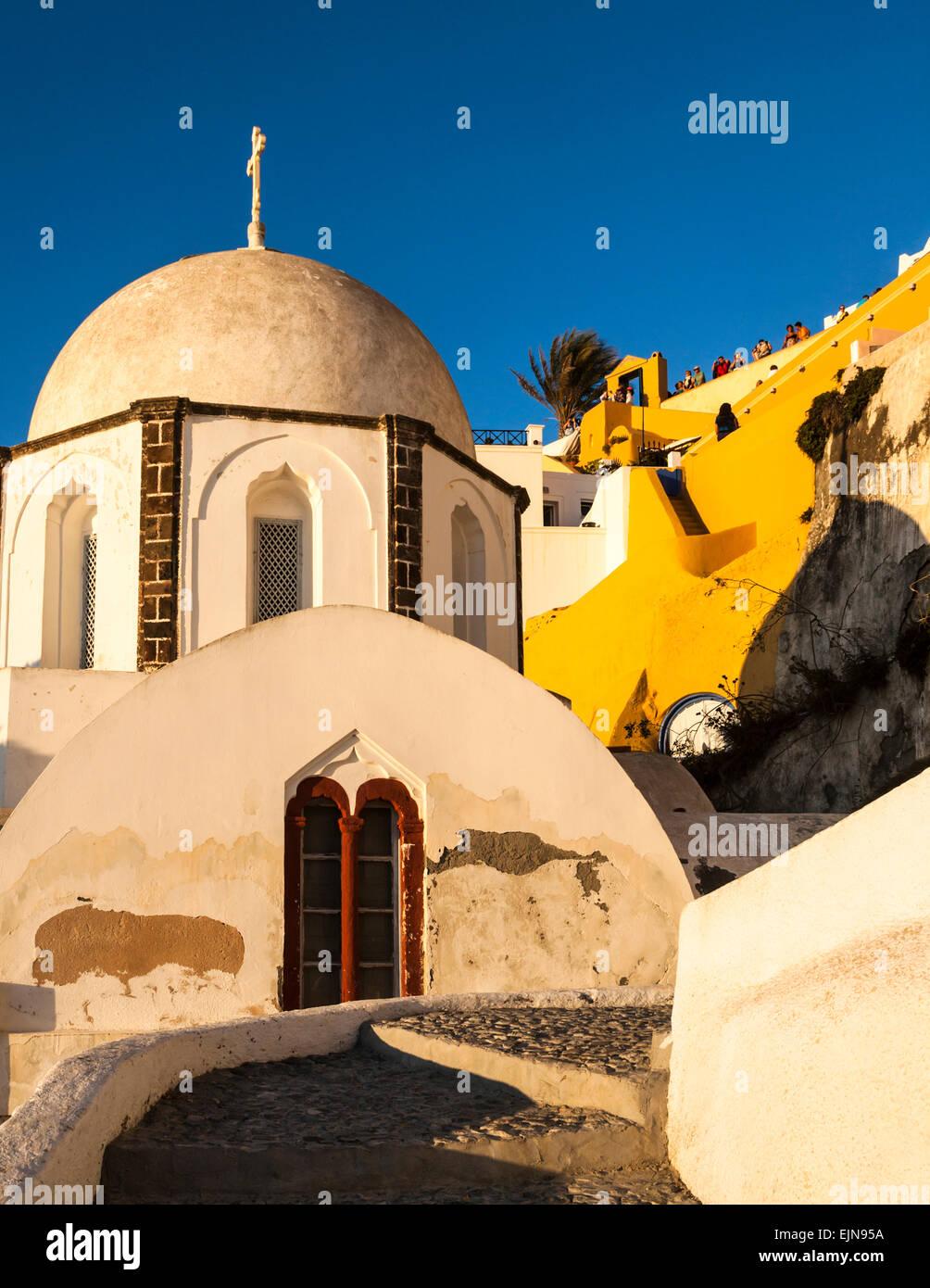 An old neglected empty church, Fira, Santorini (Thera), Greece. - Stock Image