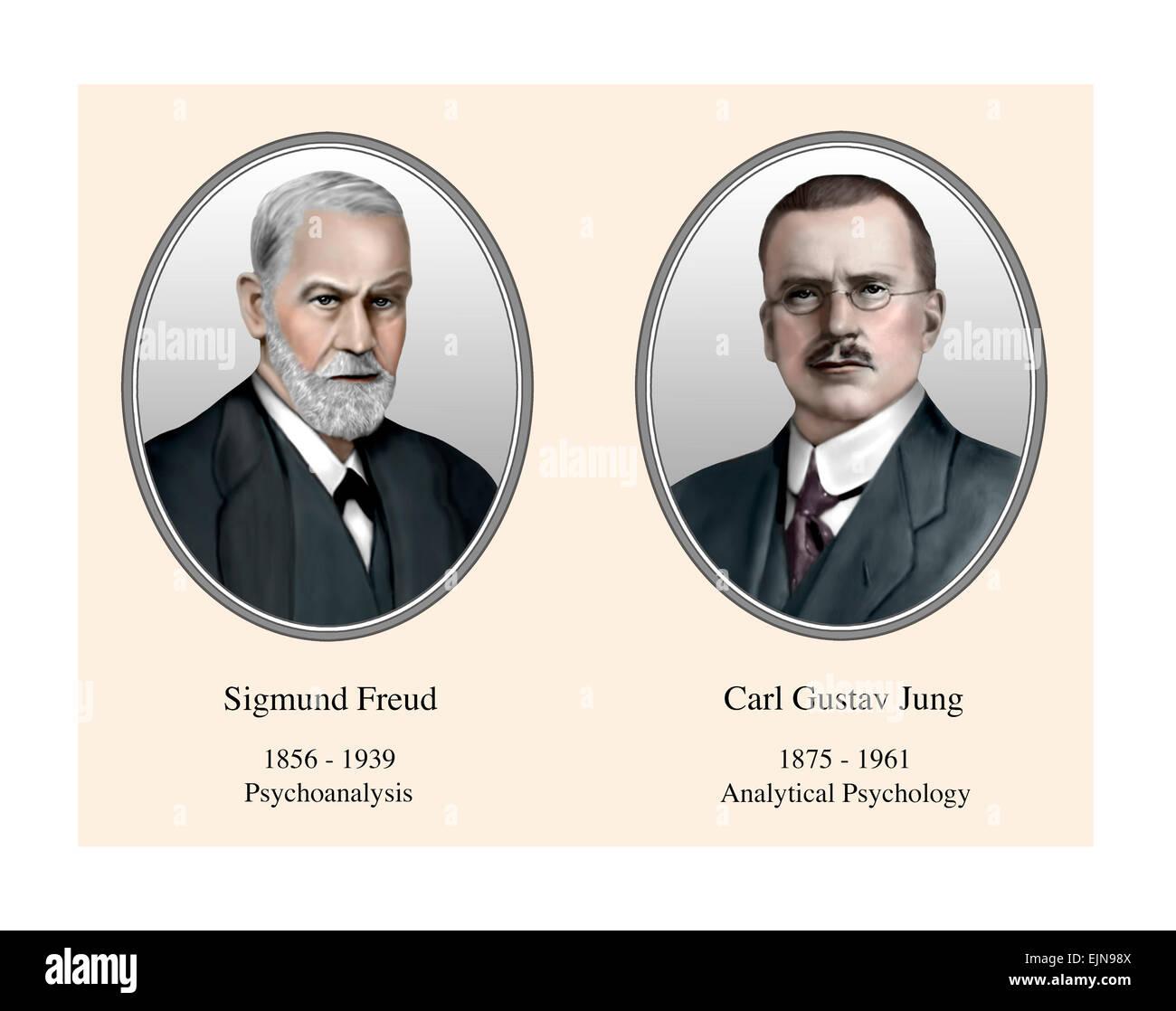 Sigmund Freud Carl Gustav Jung Portrait Modern Illustration - Stock Image