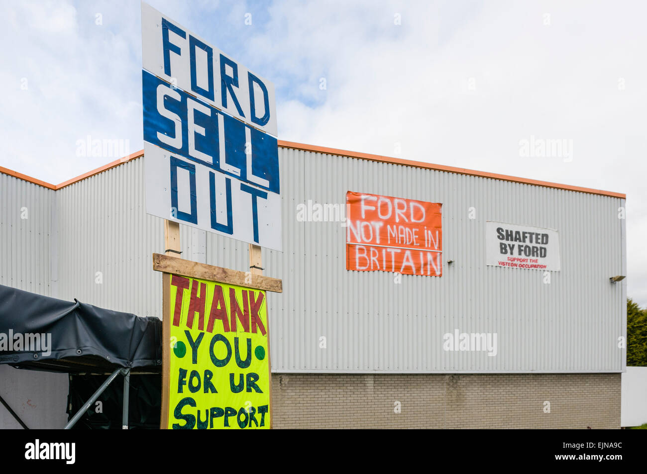 Protest at a factory making parts for ford after the company withdrew contracts