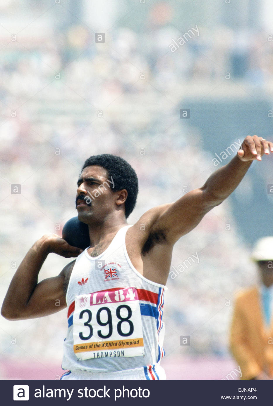 1984 Olympic Games at the Memorial Coliseum in Los Angeles, USA. Decathlon Shotput event. Great Britain's Daley - Stock Image