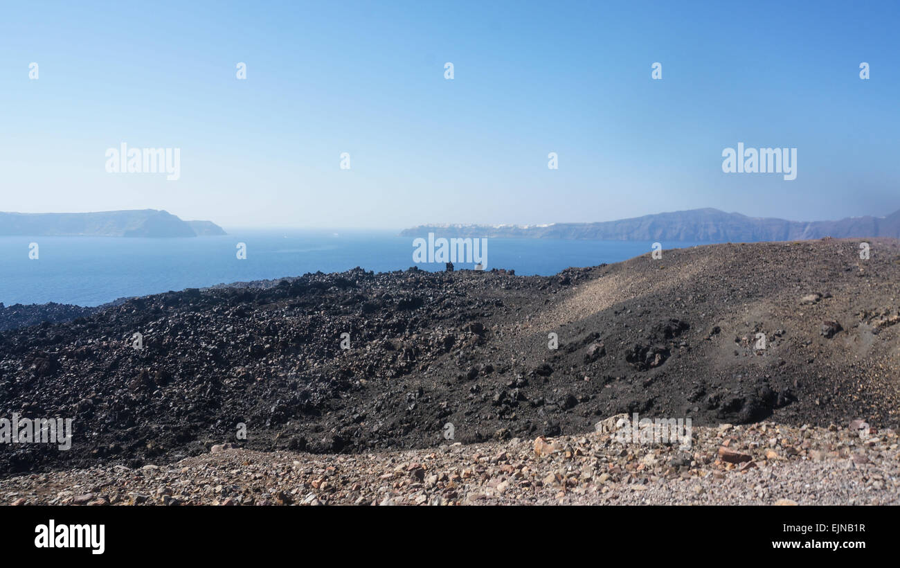 Nea kameni in Santorini, Aegean Sea, Greece - Stock Image