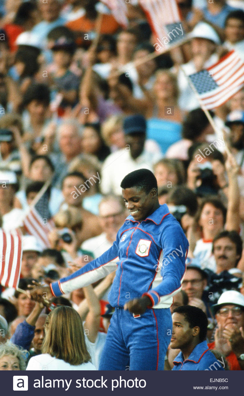 1984 Olympic Games in Los Angeles, USA. American athlete Carl Lewis, gold medal winner in the 100 metres, the long - Stock Image