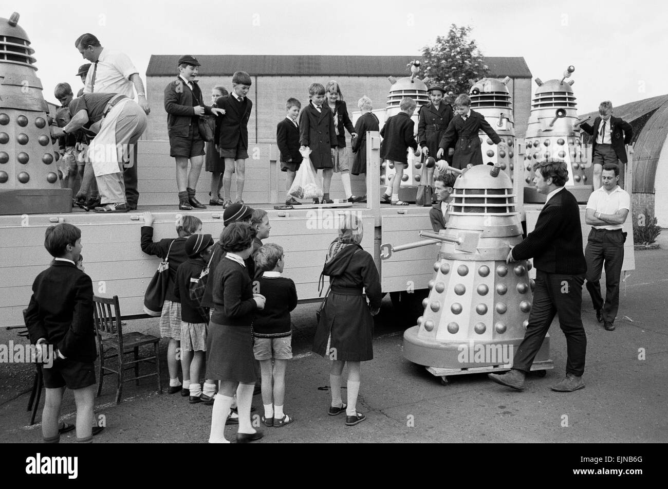 Lorry load of Daleks are prepared to be transported to the Cannes Film Festival via Dover, where they will be used - Stock Image