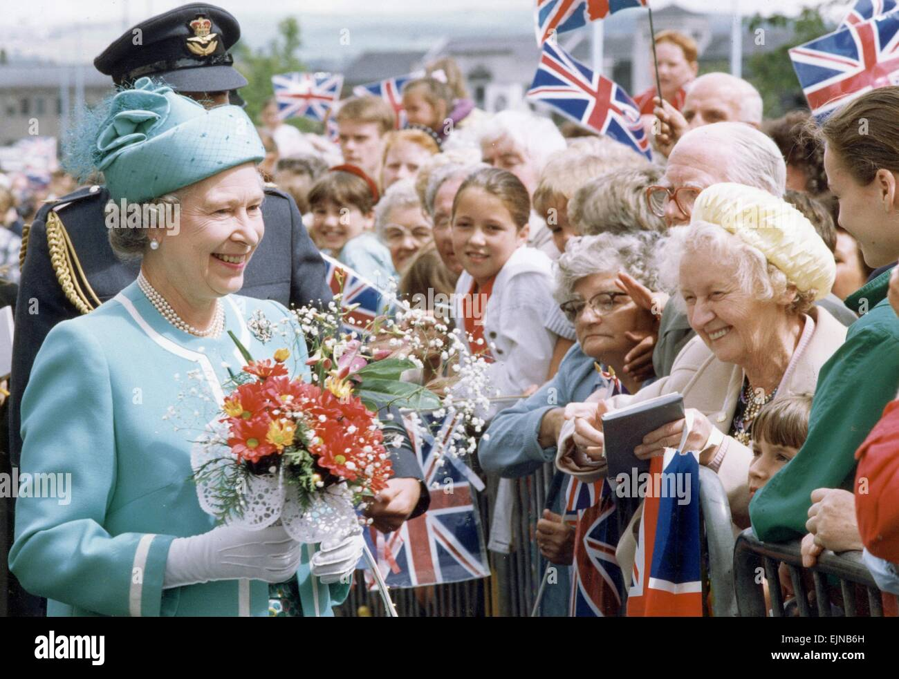 The Queen visits Manchester. 17th July 1992. - Stock Image