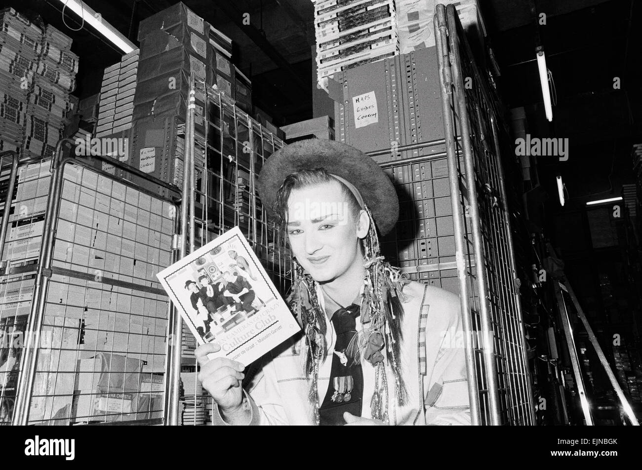 Boy George makes a publicity appearance at a bookshop in Brent Cross, London. 22nd September 1983. - Stock Image