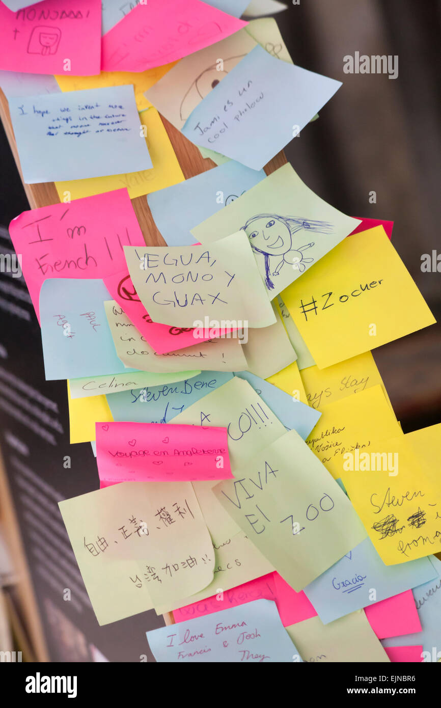 post it notes with messages written on in various languages on display in Chapter House, Salisbury Cathedral, Salisbury, - Stock Image