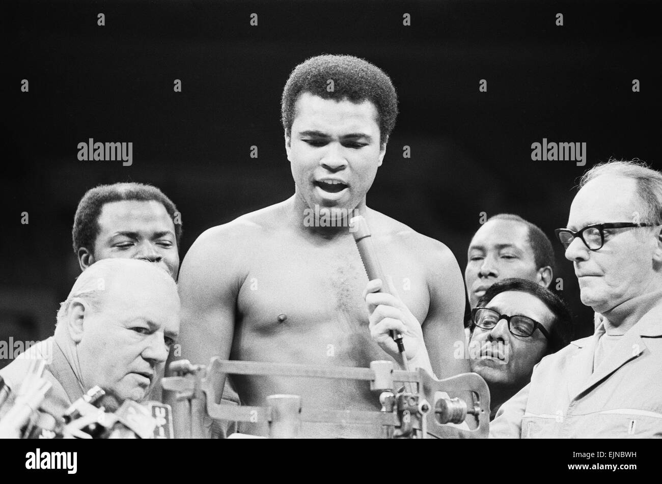 Muhammad seen here at the weigh before his world champion fight against Joe Frazier at Madison Square Gardens in - Stock Image