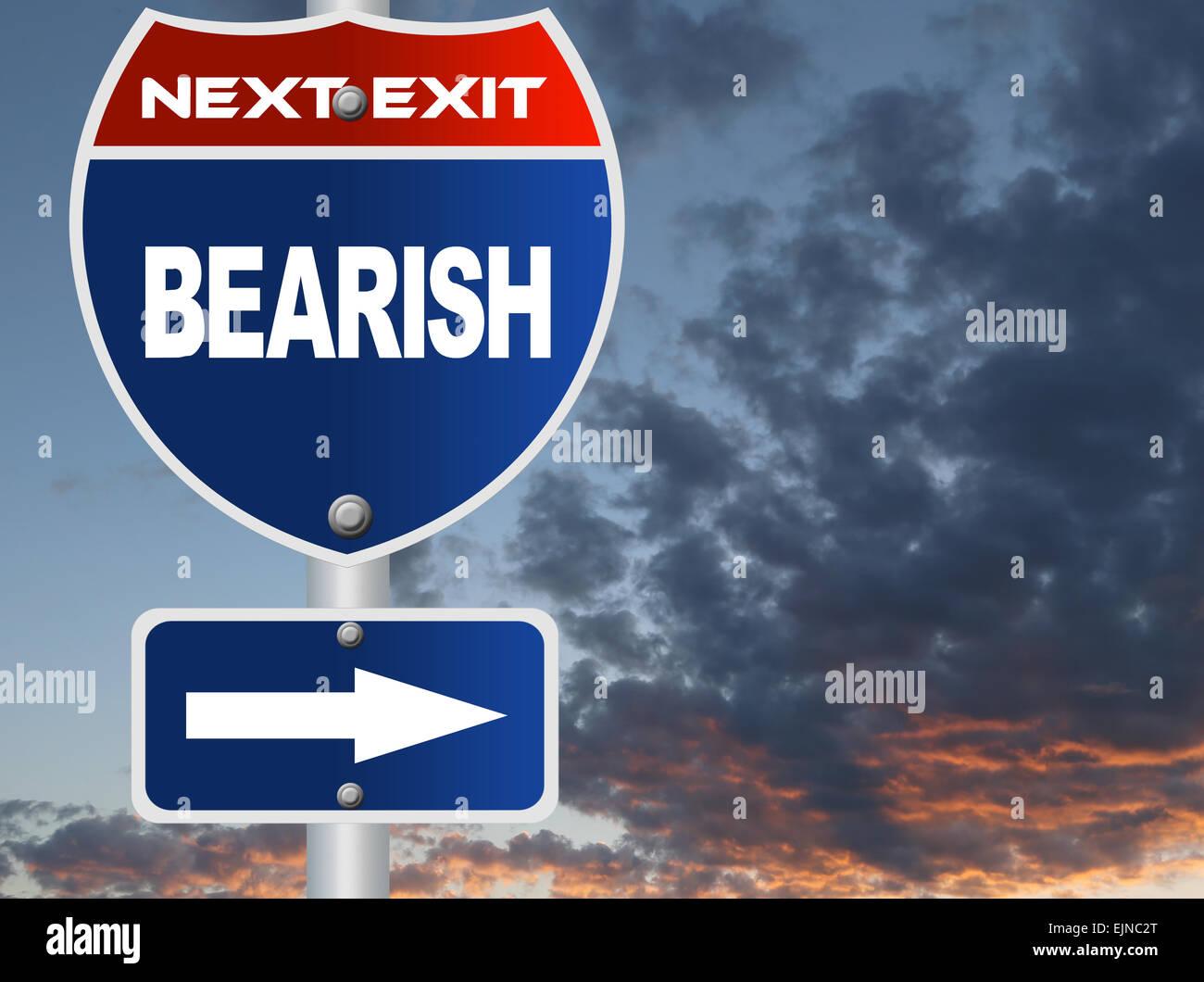 Bearish road sign - Stock Image