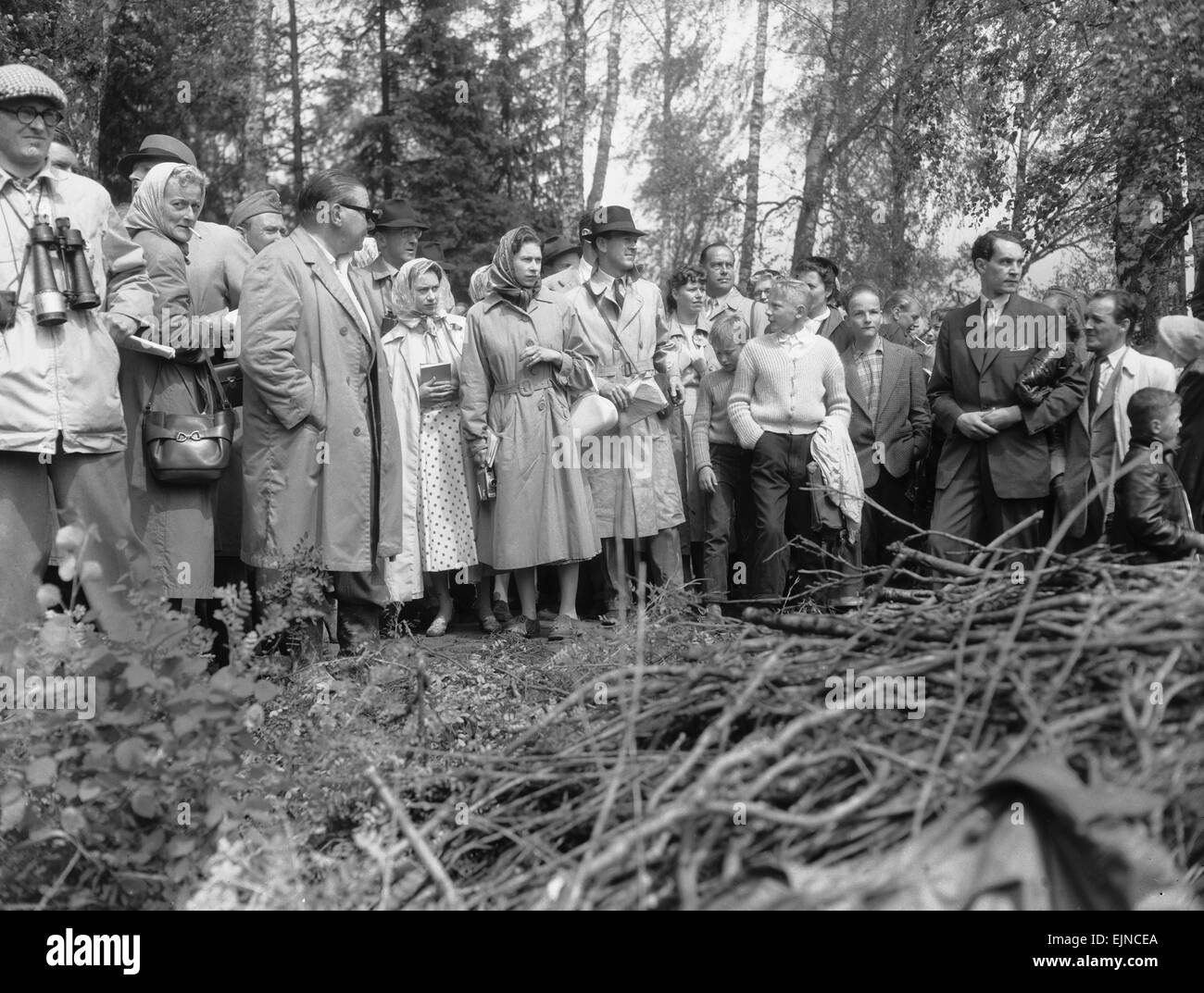 The Queen (centre) seen here with Princess Margaret and members of the Swedish Royal family watching the action Stock Photo