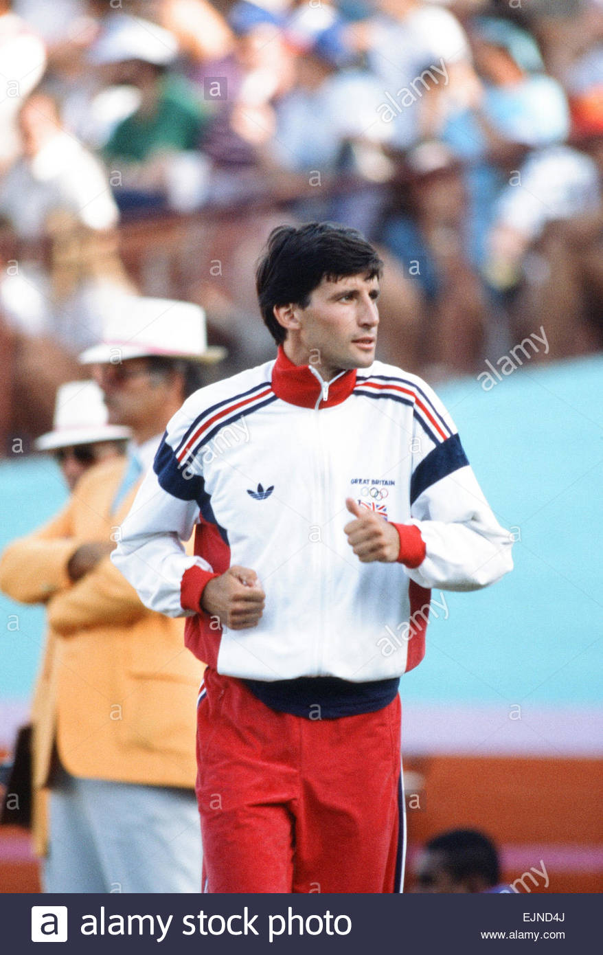 1984 Olympic Games in Los Angeles, USA. Great Britain's Sebastian Coe, gold medal winner in the 1500 metres - Stock Image