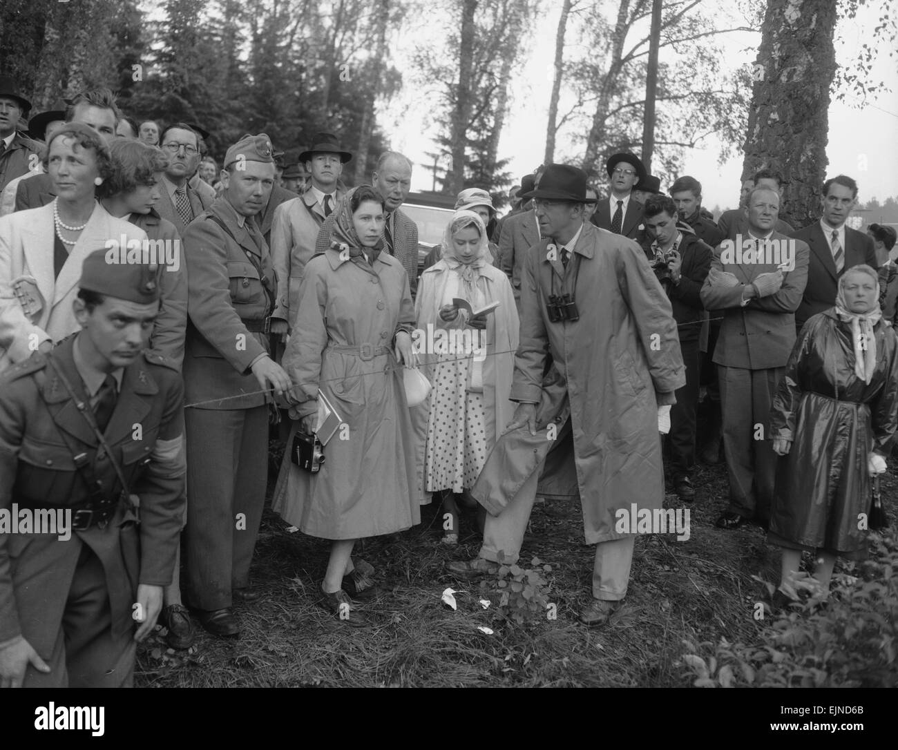 The Queen (centre) seen here with Princess Margaret, King Gustav IV and members of the Swedish Royal family watching Stock Photo