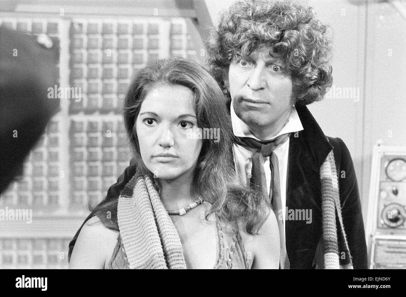 Doctor Who, actor Tom Baker - the 4th Doctor - pictured with new assistant Leela played by actress Louise Jameson, - Stock Image