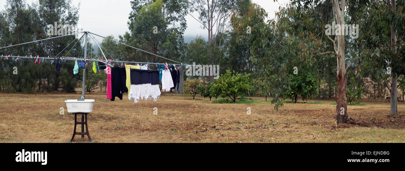 Backyard Washing Line in the Hunter Valley New South Wales Australia - Stock Image