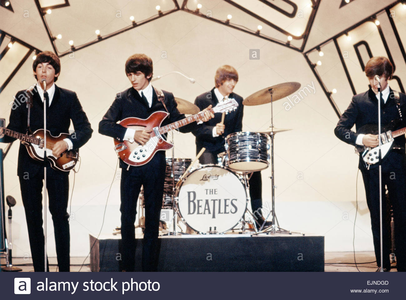 The Beatles Pop Group Performing On Stage At A Television Studio Left To Right Paul McCartney George Harrison Ringo Starr And John Lennon Circa 1964