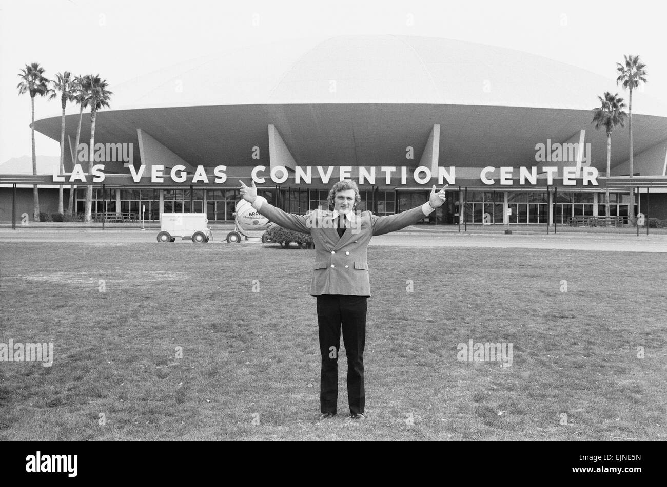 British Heavyweight Champion Joe Bugner seen here outside the Las Vegas Convention Centre where he will fight Muhammad - Stock Image