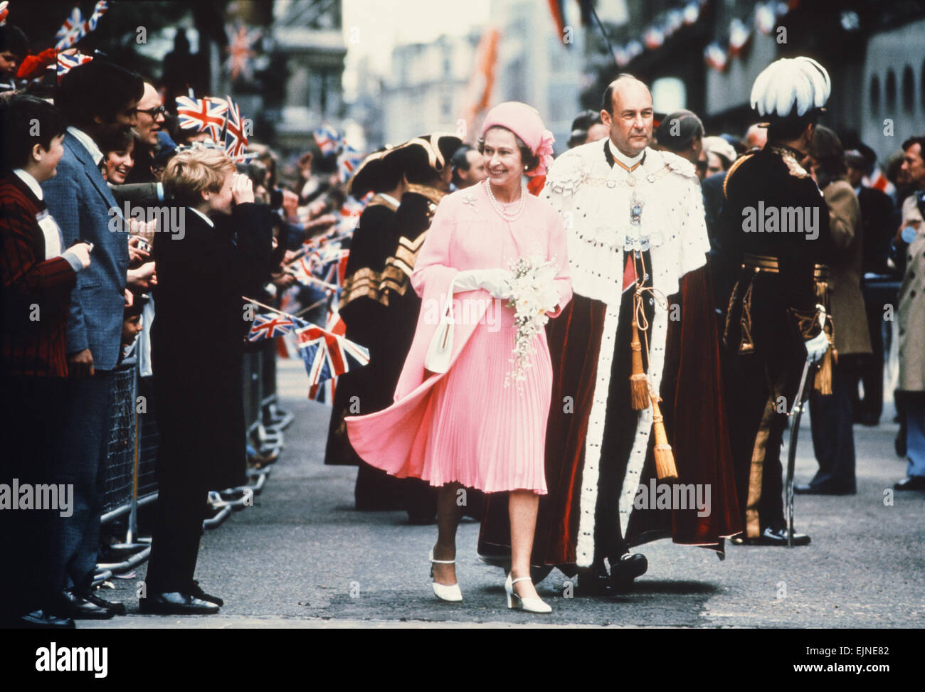 Queen Elizabeth II & Lord Mayor of London walk to Guildhall, for lunch, after Thanksgiving Service at St Pauls - Stock Image