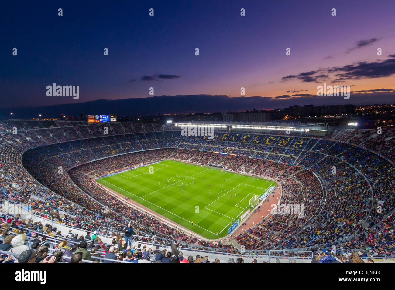 Camp Nou is a football stadium in Barcelona, Catalonia, Spain, which has been the home of Futbol Club Barcelona - Stock Image