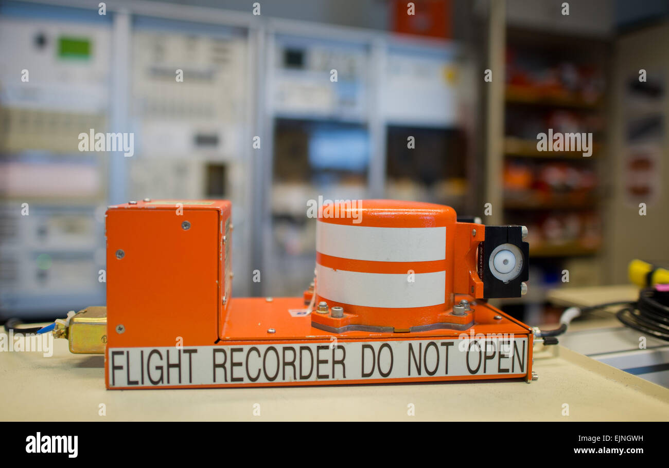 Braunschweig, Germany. 30th Mar, 2015. A flight recorder is seen at the German Federal Bureau of Aircraft Accidents Stock Photo