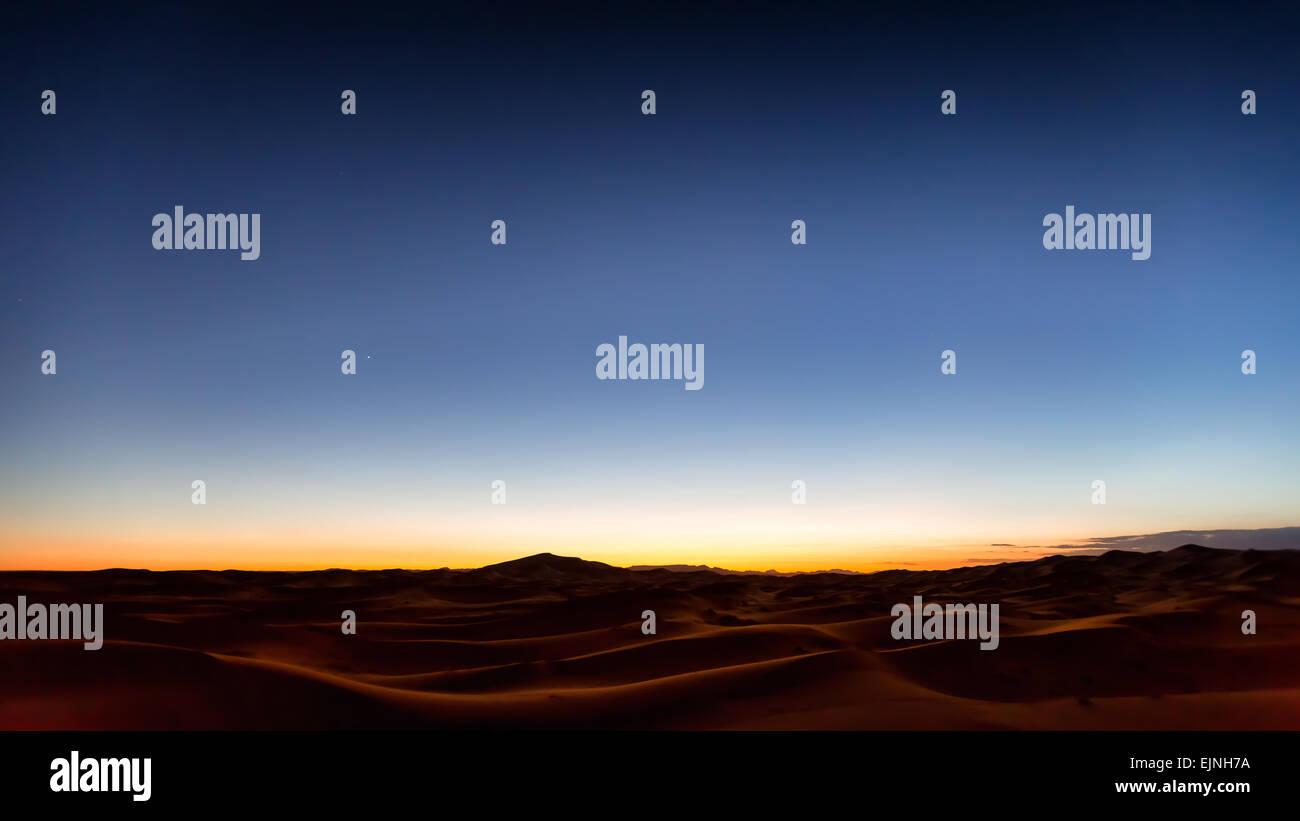 Twilight at Erg Chebbi desert, Merzouga, Morocco, Africa - Stock Image