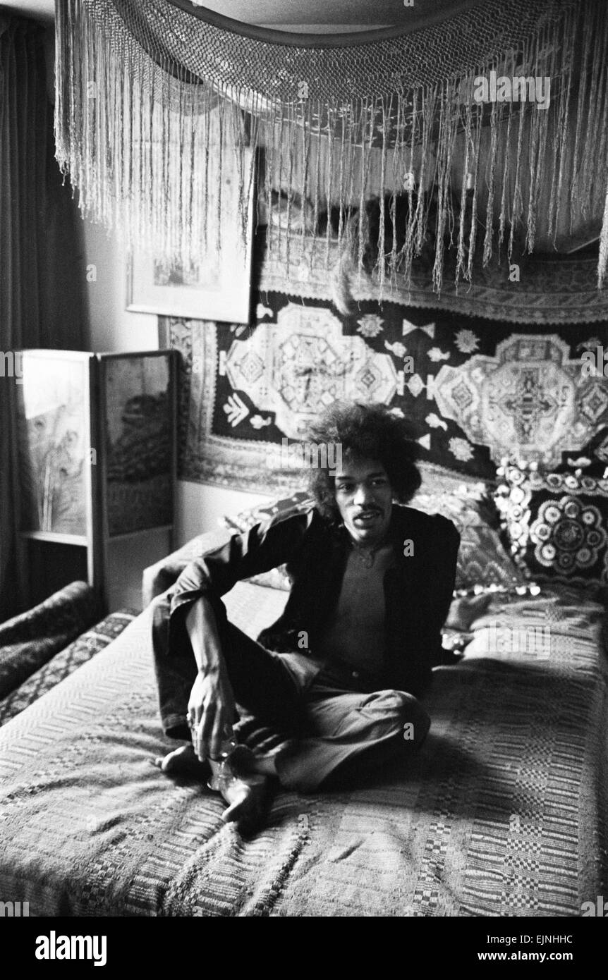 Musician Jimi Hendrix in London at his Mayfair flat which was once the residence of George Frederick Handel. 7th Stock Photo