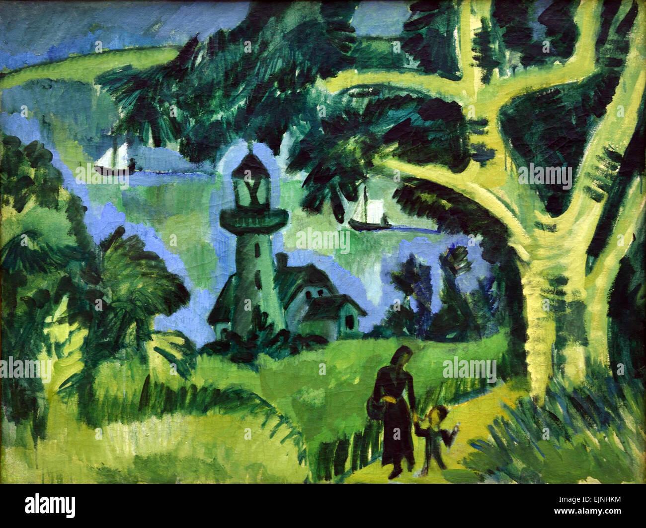 Lighthouse on Fehmarn 1912 Ernst Ludwig Kirchner 1880-1938 German Germany - Stock Image