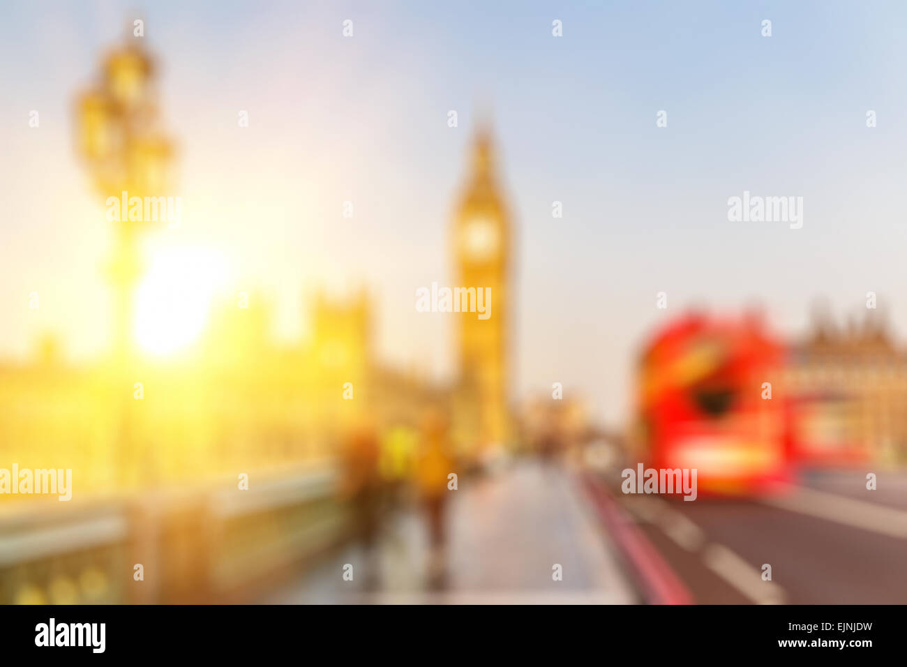 Bokeh of Big Ben and Westminster bridge, London - Stock Image