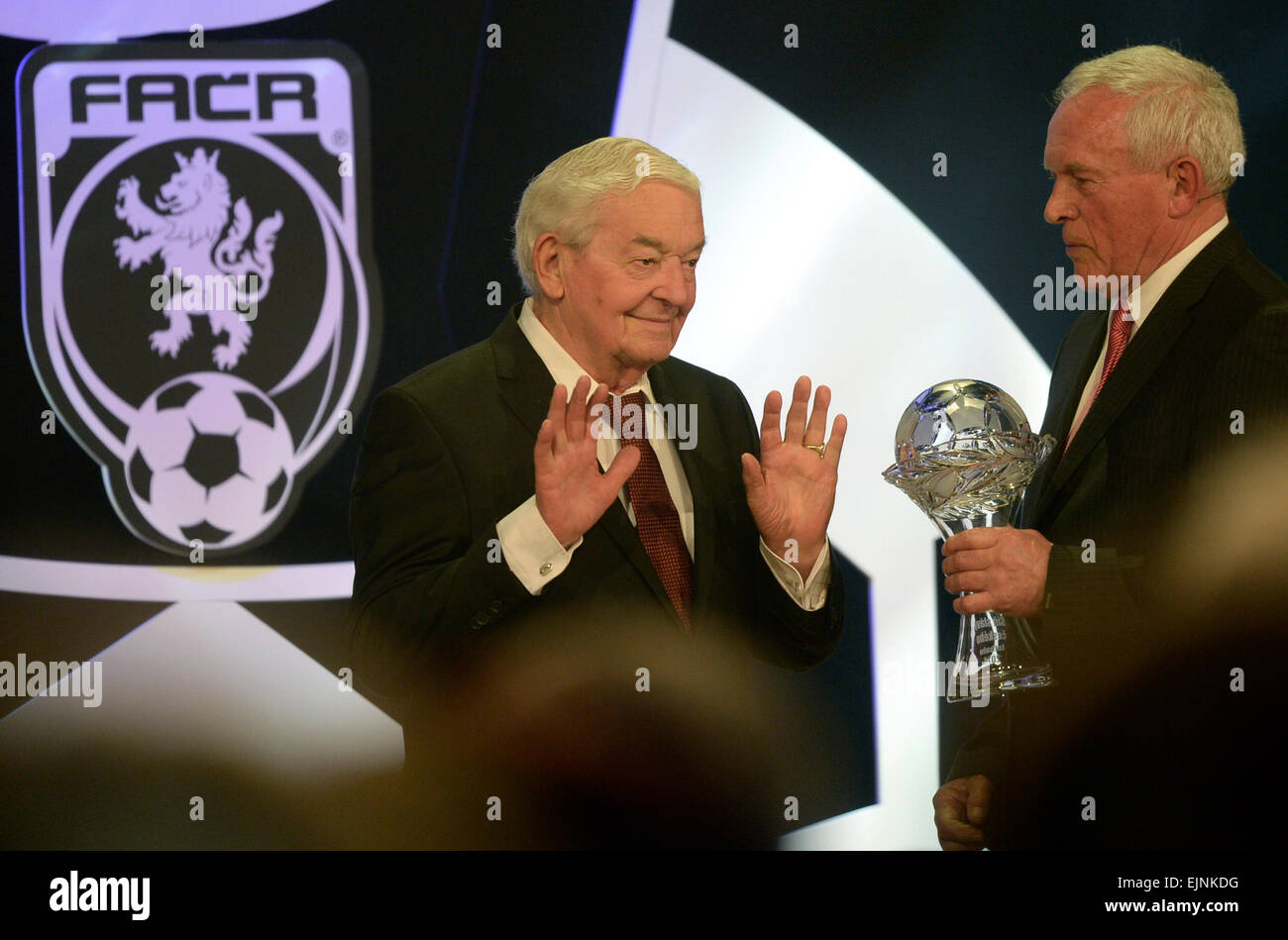 Prague, Czech Republic. 29th March, 2015. Rudolf Bata, respected football official, left, was inducted into the Stock Photo