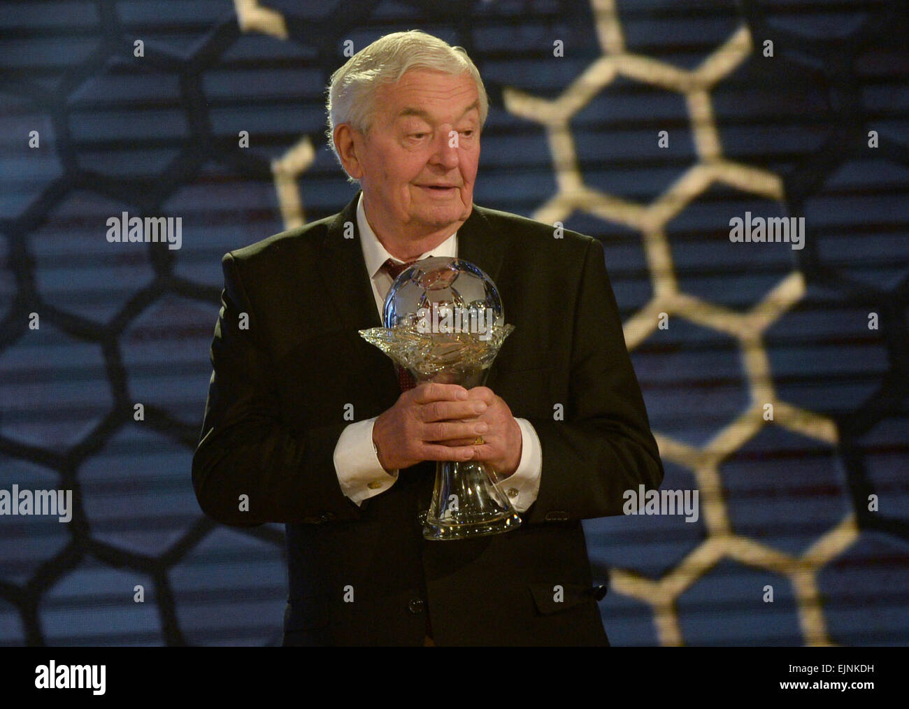 Prague, Czech Republic. 29th March, 2015. Rudolf Bata, respected football official, was inducted into the Hall of - Stock Image