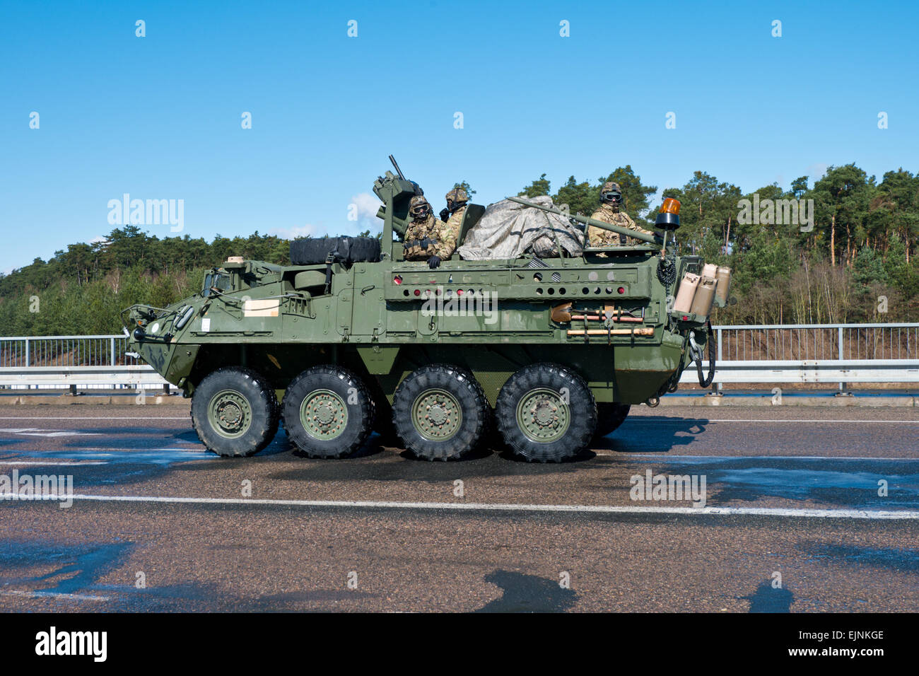 Demonstration of US army March 30, 2015 in Czech republic. Armored vehicle Stryker - Stock Image