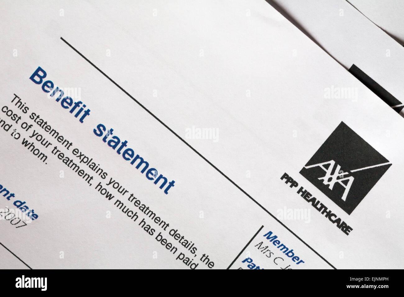 axa ppp healthcare benefit statement stock photo 80382585 alamy