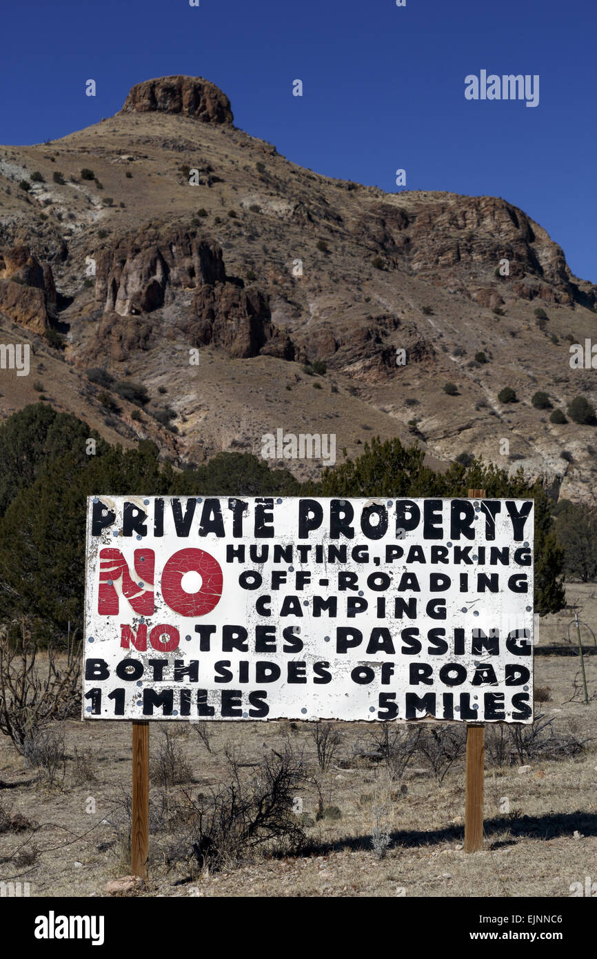 Private Property sign in Monticello Box Canyon New Mexico USA - Stock Image