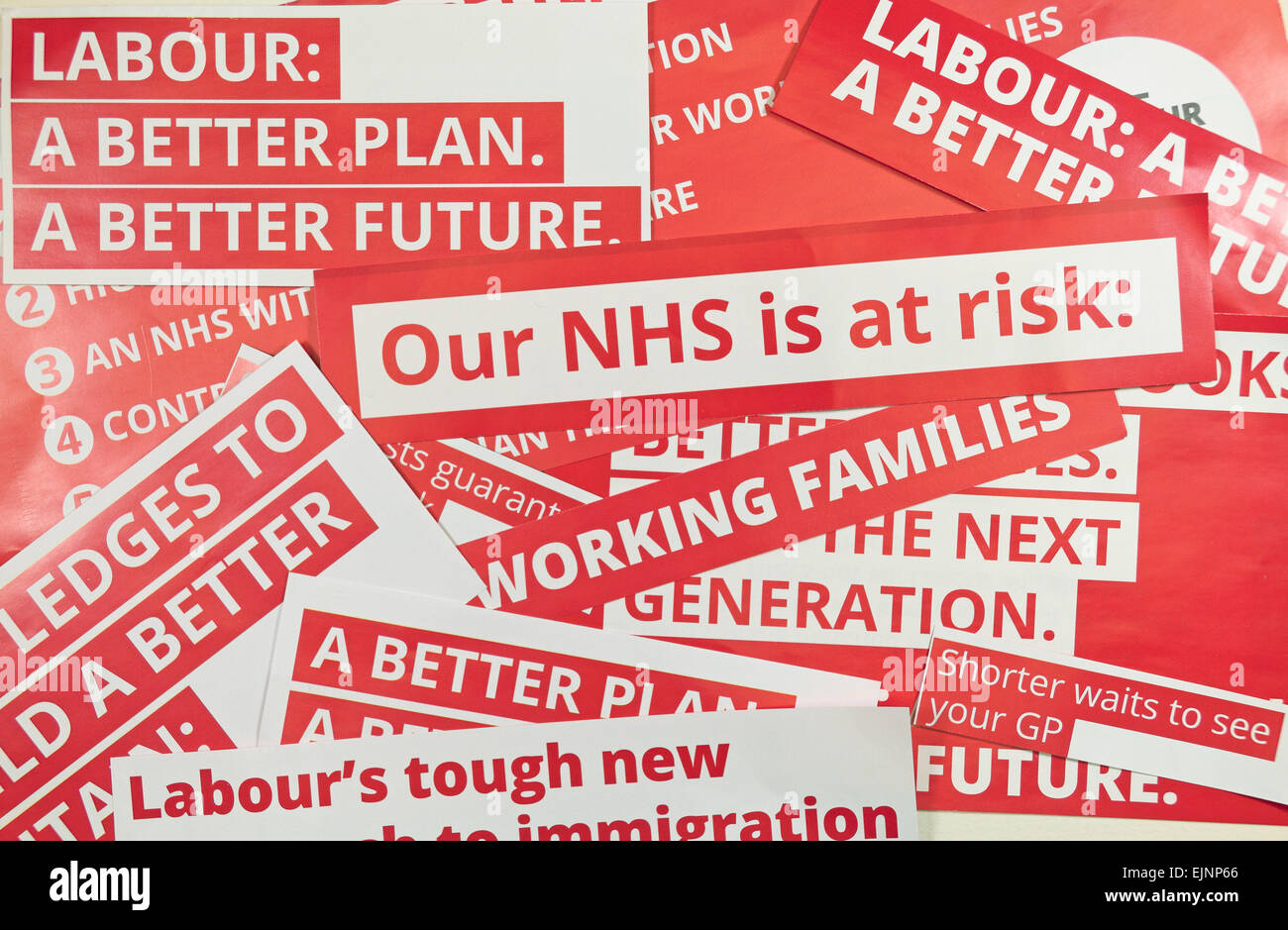 Cut out slogans from Labour party literature received before the General Election in 2015 had begun. - Stock Image