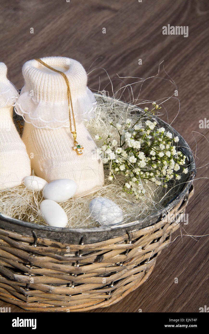 background for new born or baptism with little cross - Stock Image