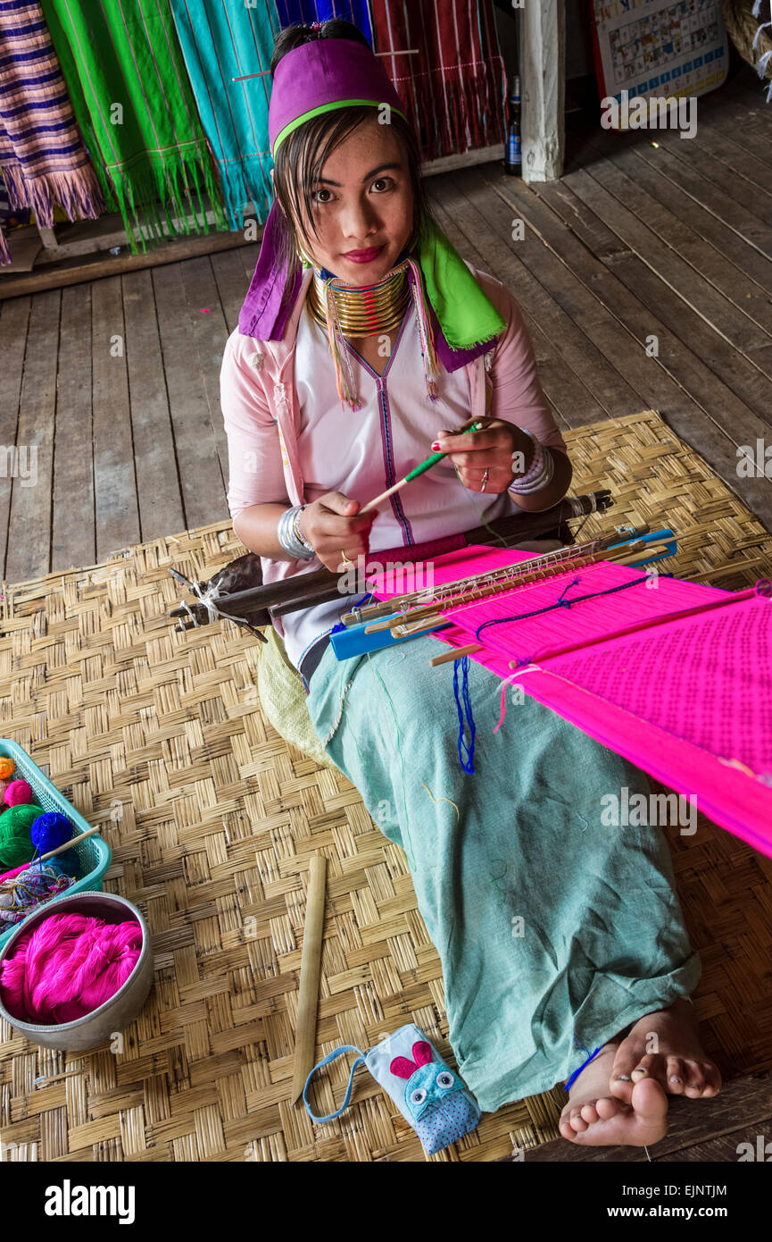 Scene from Inle Lake, ladies from the Palung Hilltribe - Stock Image