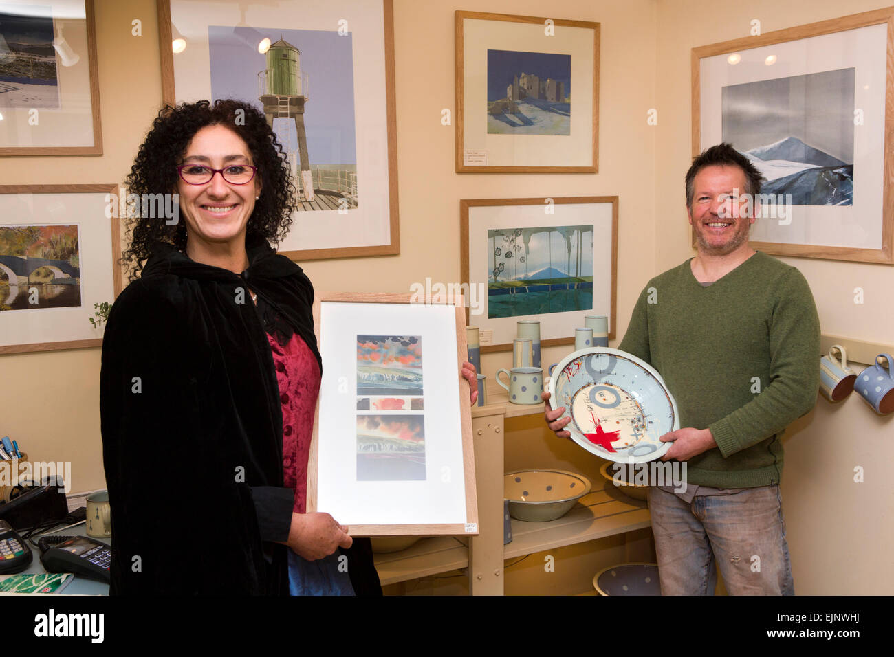 UK, England, Yorkshire, Grassington, Hannah Chesterman, David Ashby of the Courtyard Gallery and Pottery - Stock Image