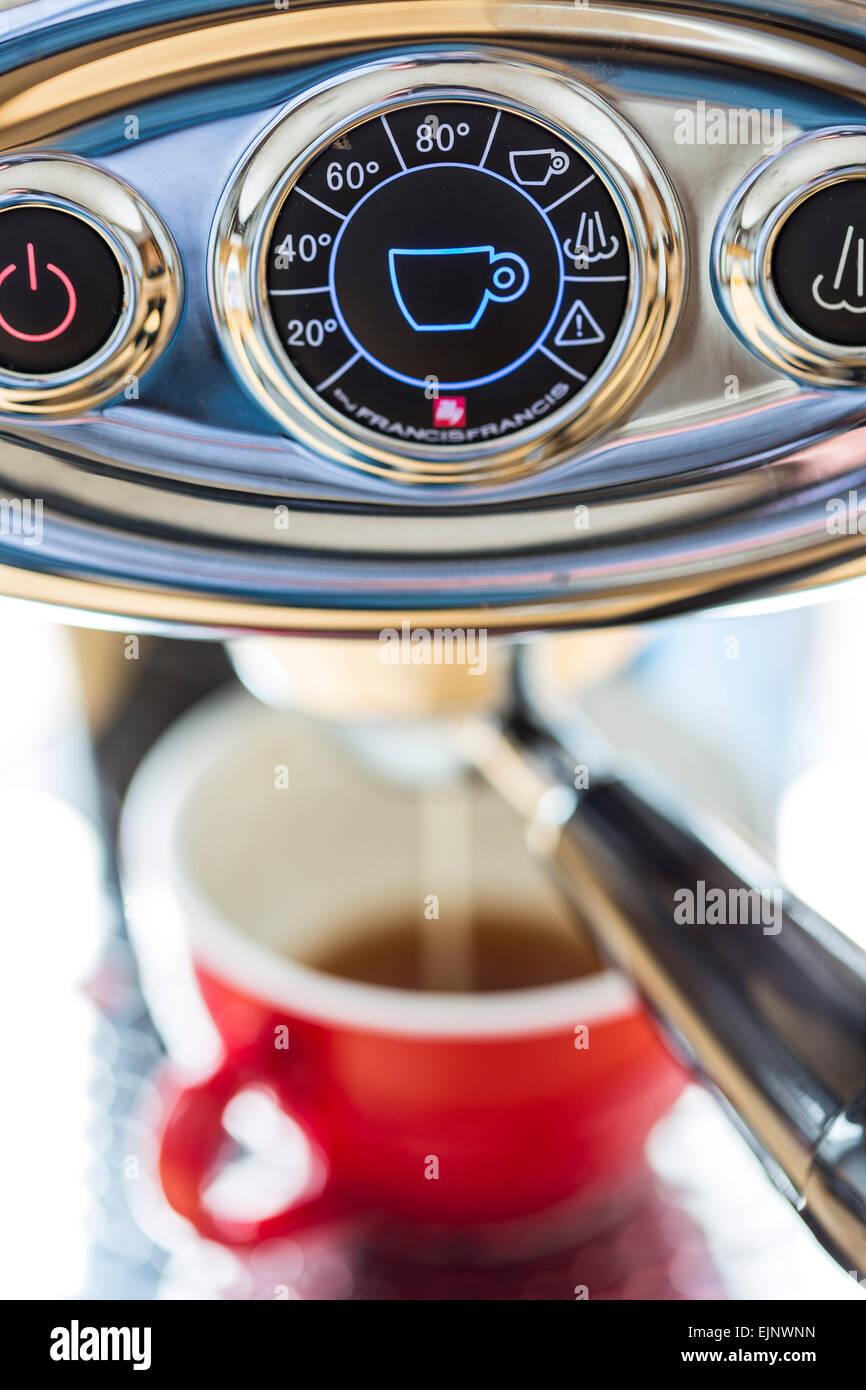 Capsule coffee machine, for the preparation of coffee, espresso, coffee capsules, - Stock Image