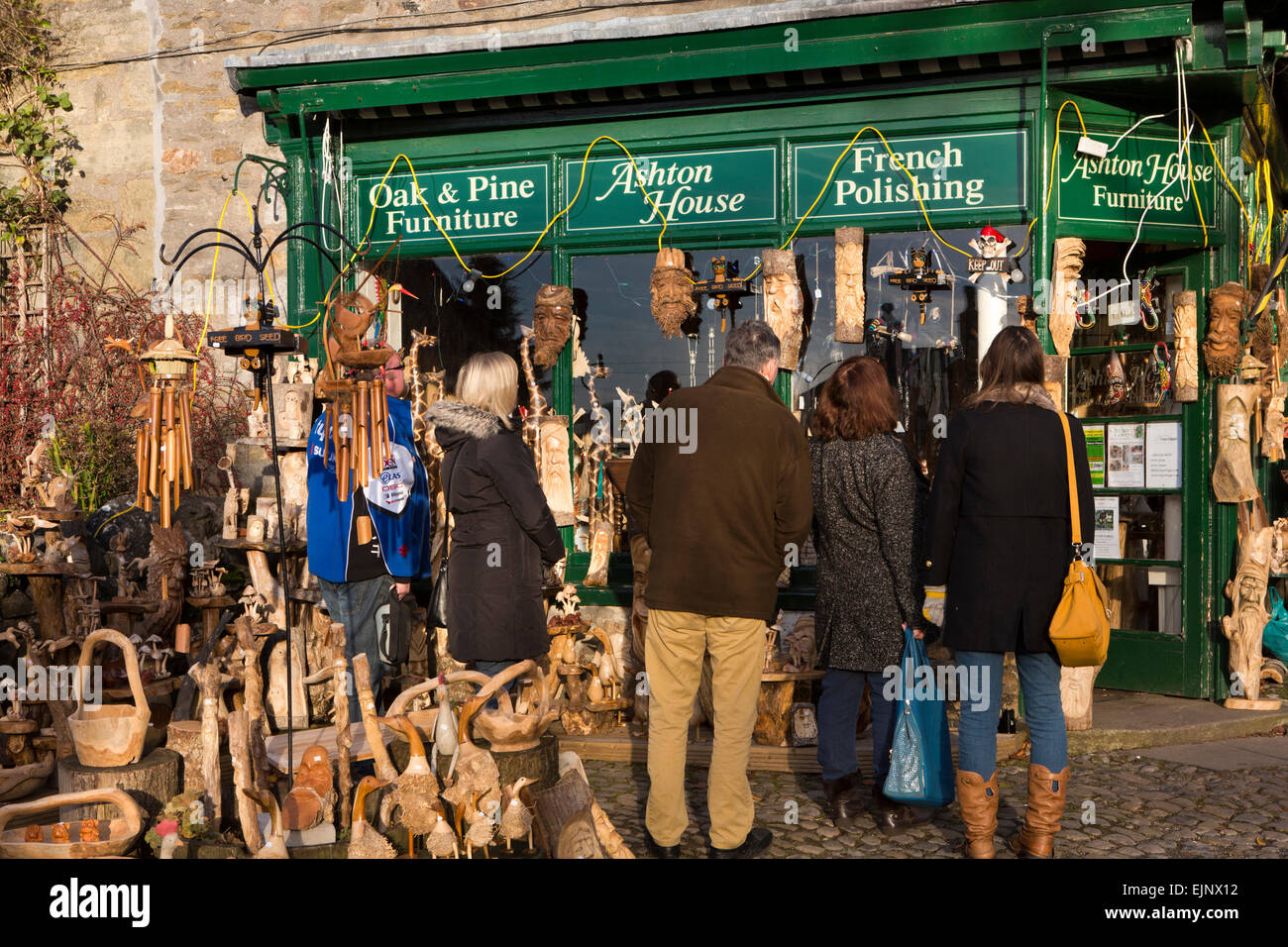 UK, England, Yorkshire, Grassington, Dickensian Festival, display of wooden gifts at Ashton House shop - Stock Image