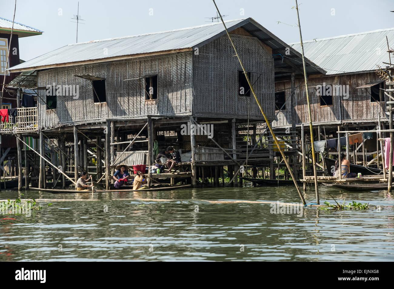 Scene from Inle Lake, stilt houses - Stock Image