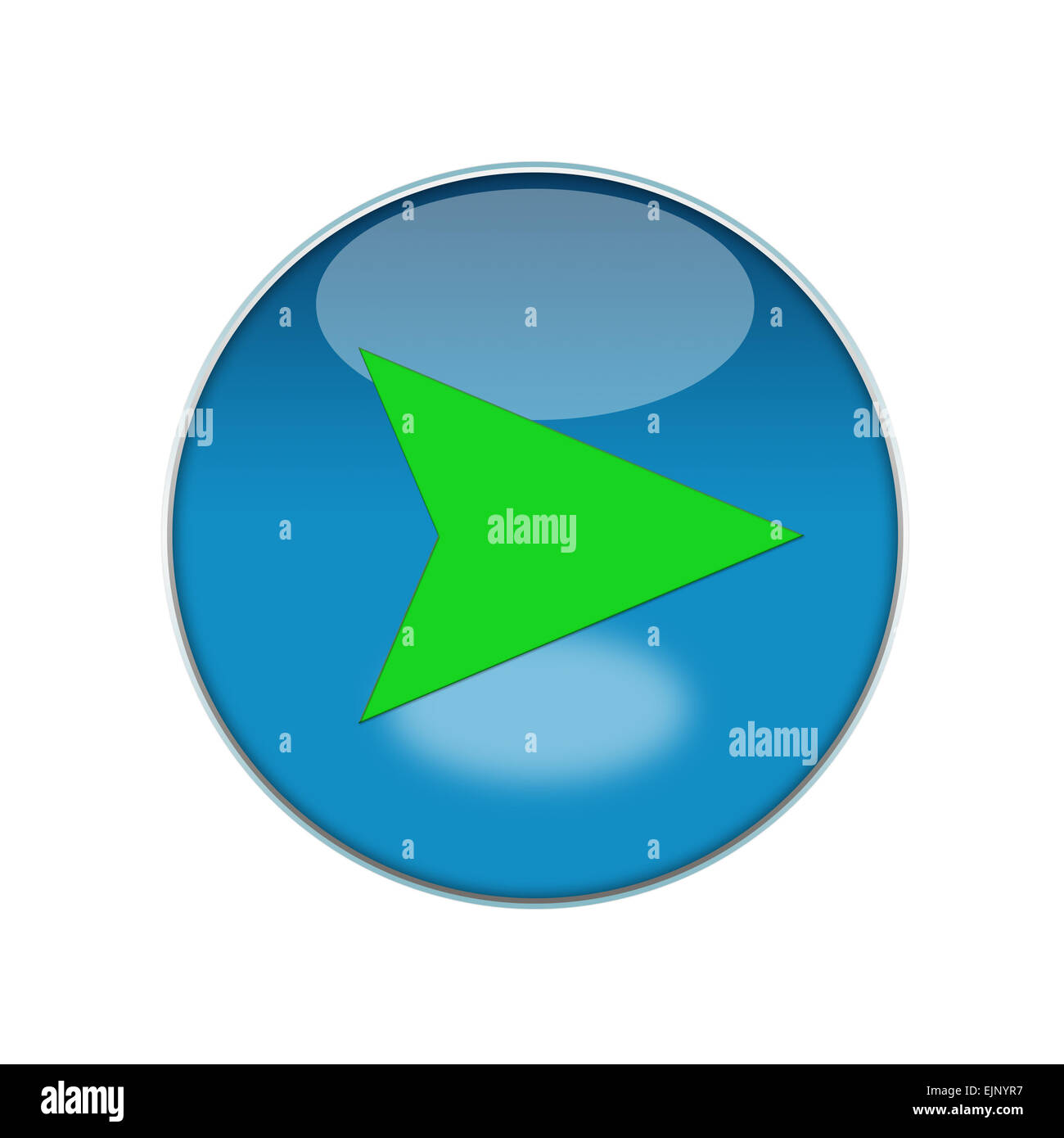 Button, blue, reflection, green, push, location, compass, right, sign, navigation, map, gps, - Stock Image