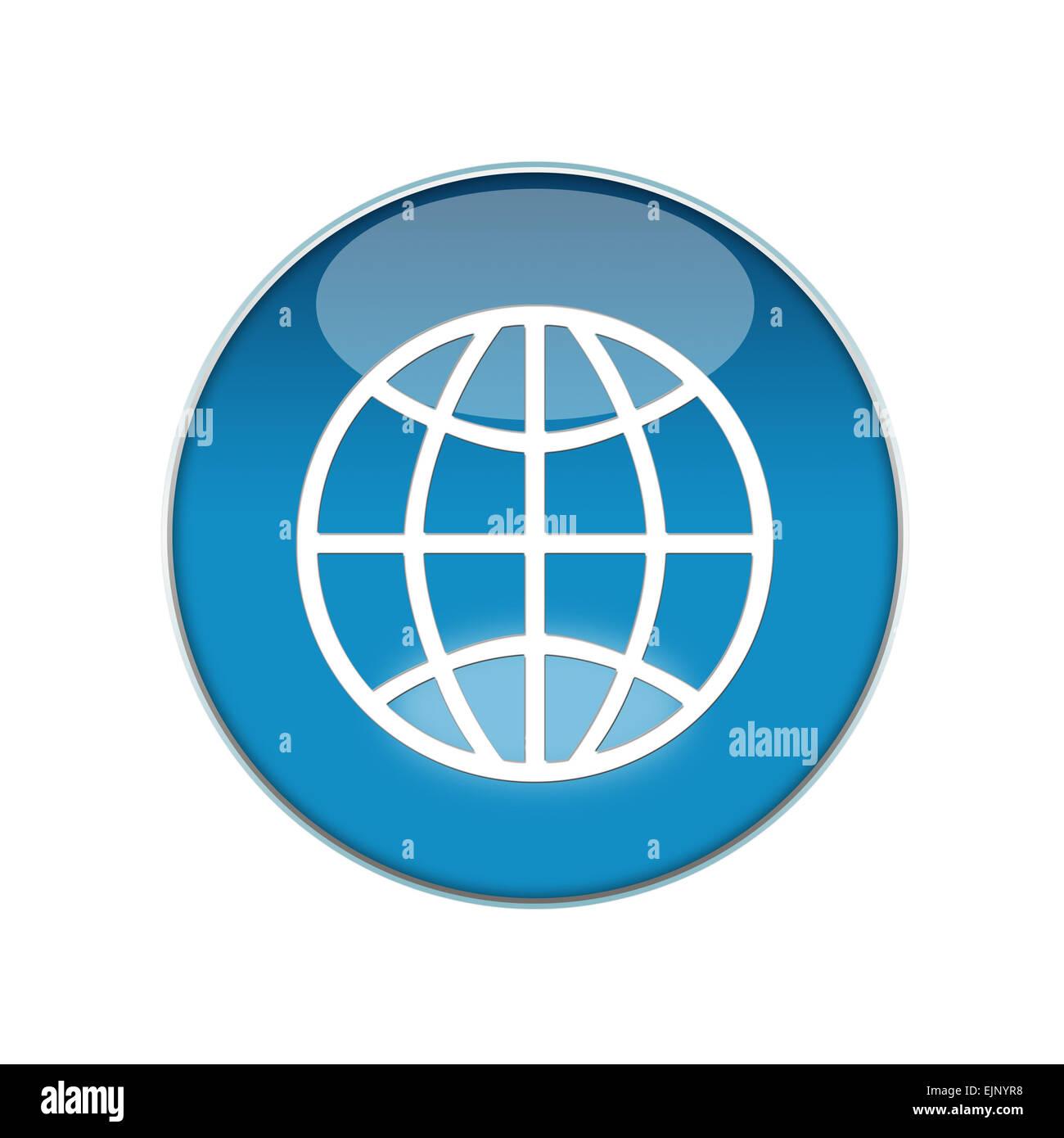 button blue world white reflection sign logo circle push
