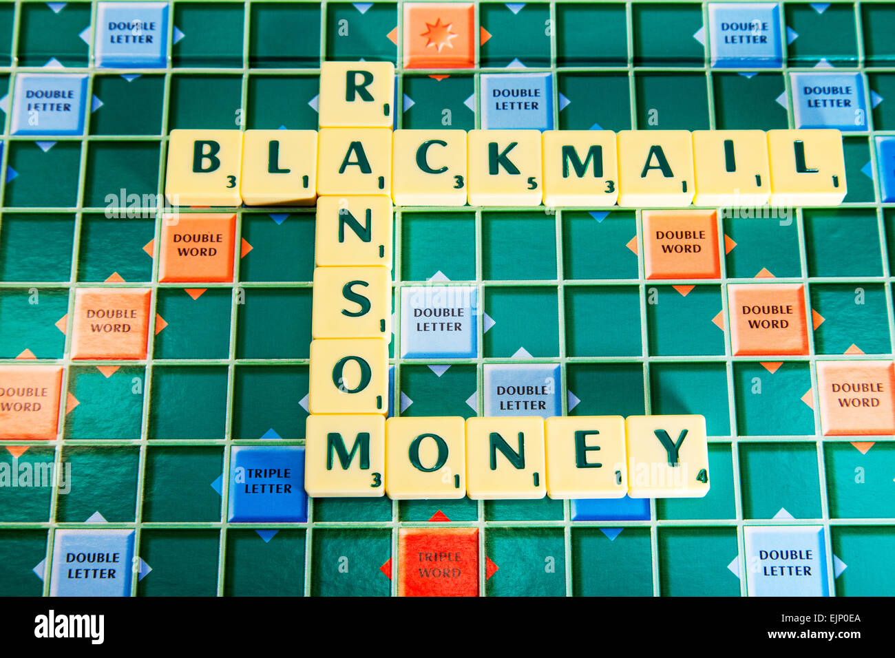 blackmail ransom money extortion fraud scare criminal tactics tactic words using scrabble tiles to illustrate spelling - Stock Image