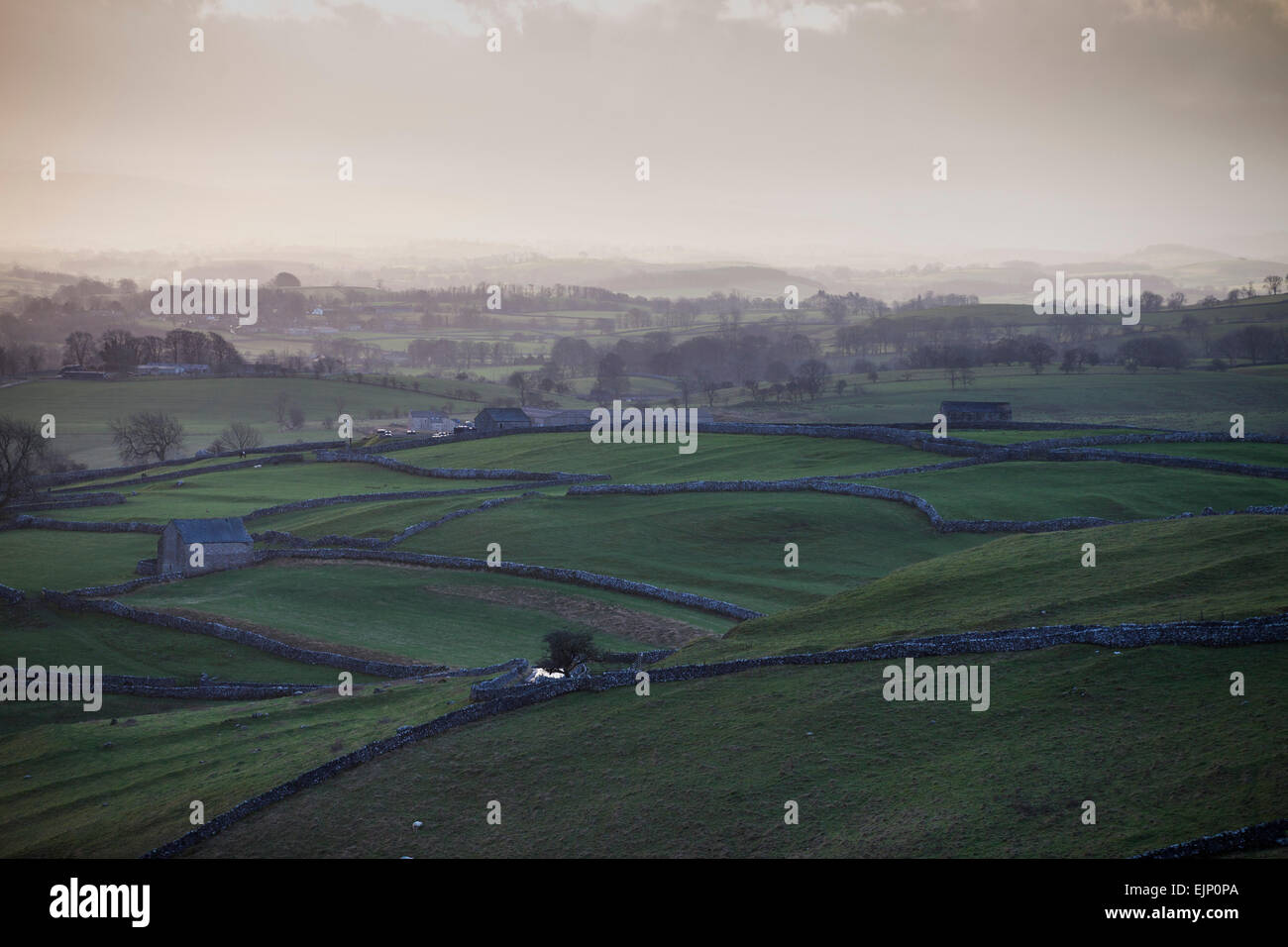 View of the Yorkshire Dales around Malham on the Pennine Way - Stock Image