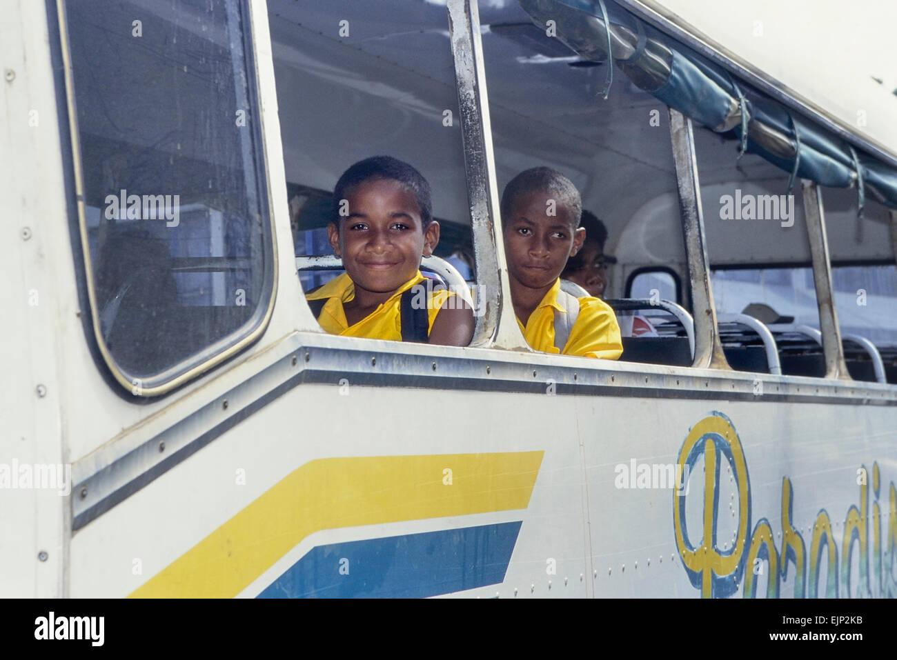 Schoolboys on a bus. Sigatoka. Fiji. South Pacific - Stock Image